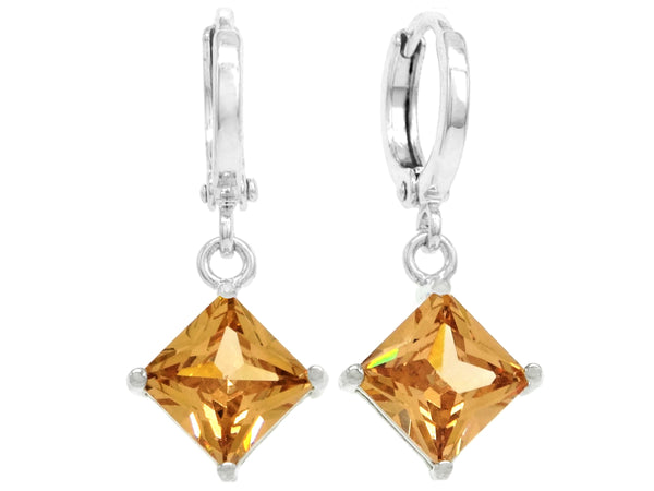 Orange princess white gold earrings MAIN