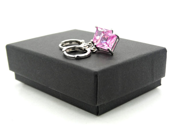 White gold pink princess necklace And earrings GIFT BOX