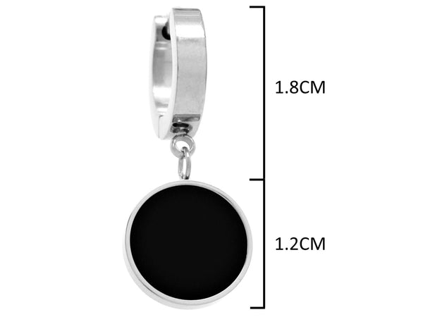 White gold black moonstone round earrings MEASUREMENT