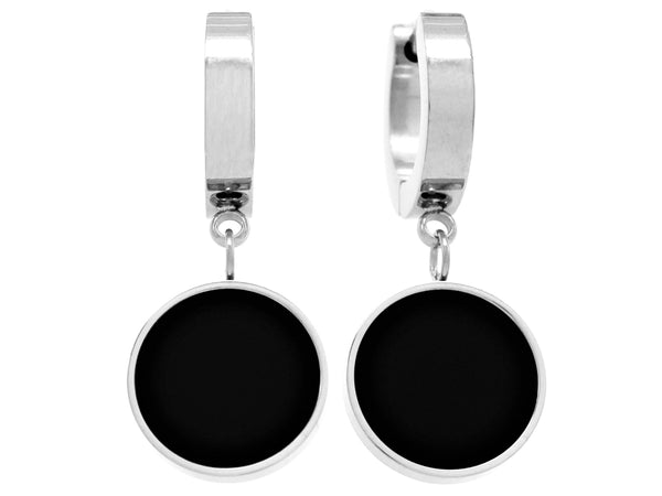White gold black moonstone round earrings MAIN