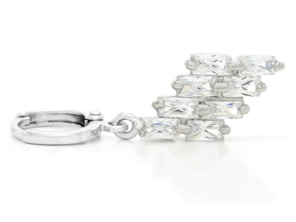 Clear drop baguette white gold necklace and earrings FRONT