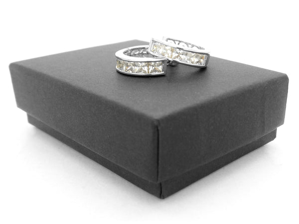 Princess sterling silver thin hoop earrings GIFT BOX