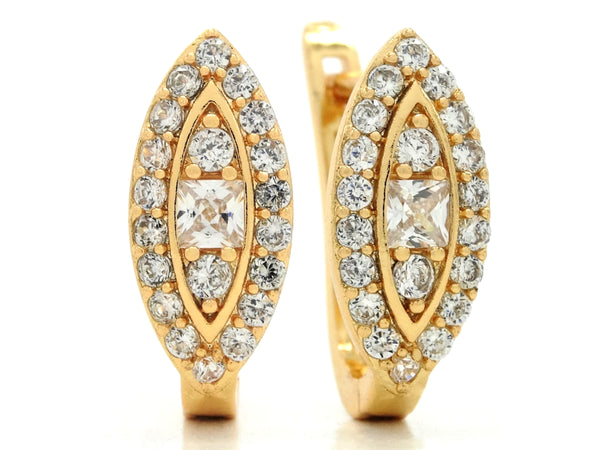 Princess and round gems gold hoop earrings