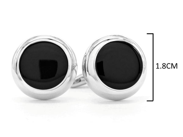 Sterling silver black moonstone cufflinks MEASUREMENT