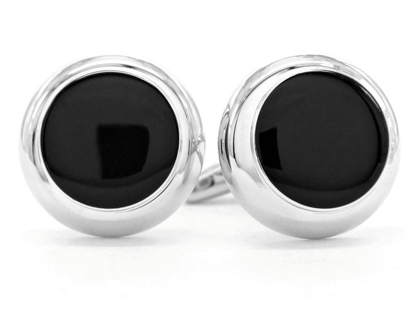 Sterling silver black moonstone cufflinks MAIN