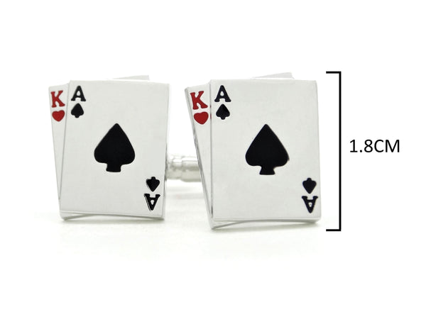 Sterling silver playing cards cufflinks MEASUREMENT