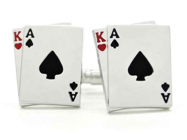Sterling silver playing cards cufflinks MAIN