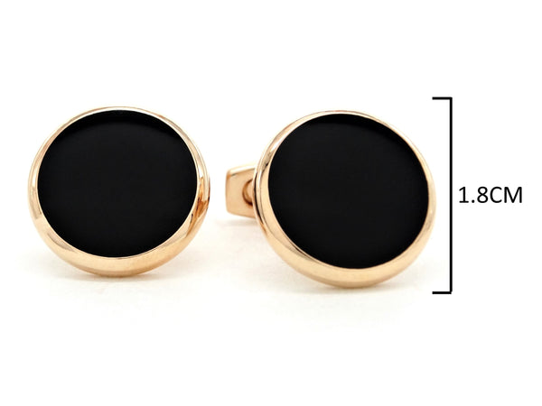 Rose gold black moonstone cufflinks MEASUREMENT