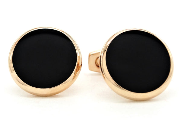 Rose gold black moonstone cufflinks MAIN