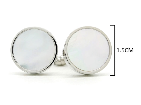Sterling silver white seashell cufflinks MEASUREMENT