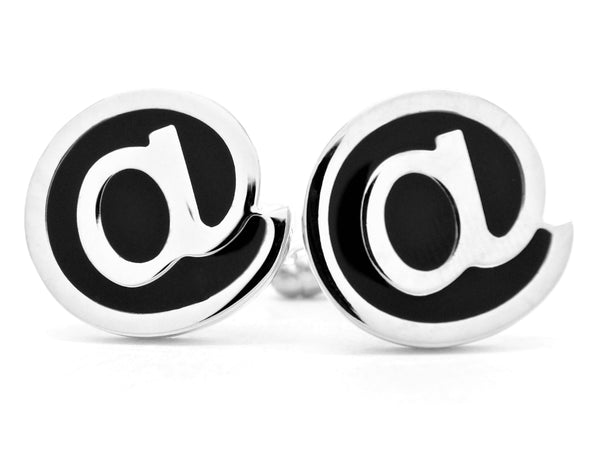 Sterling silver email @ cufflinks MAIN