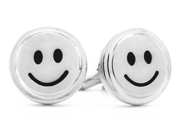 Sterling silver smiley face cufflinks MAIN
