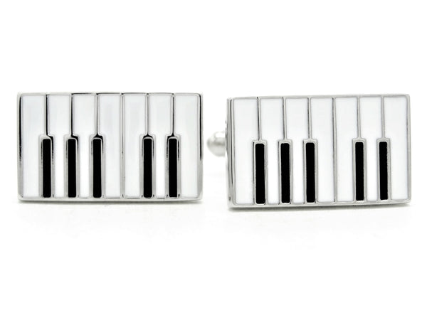 Sterling silver piano keyboard cufflinks MAIN
