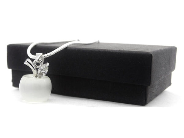White moonstone apple necklace and earrings GIFT BOX 2