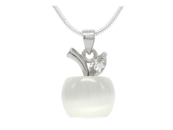 White apple moonstone silver necklace