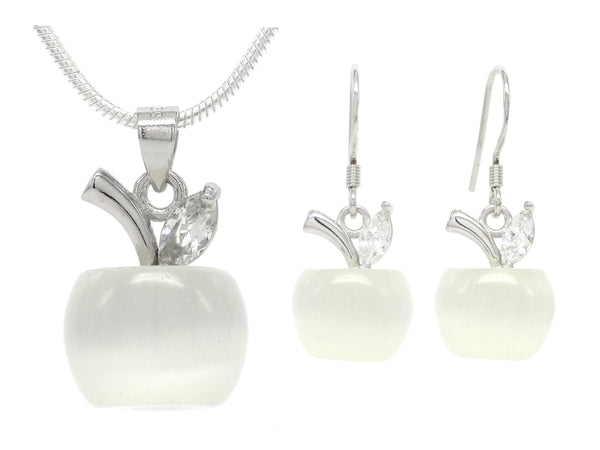 White moonstone apple necklace and earrings MAIN
