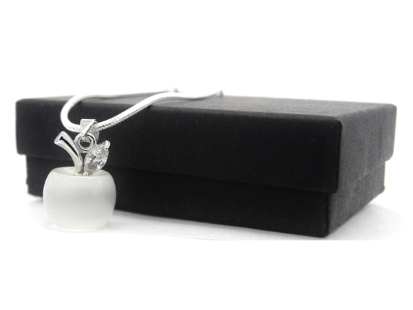 White apple moonstone silver necklace GIFT BOX