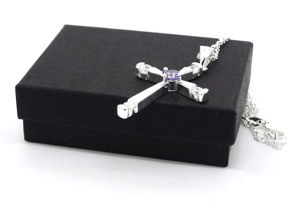 Purple gem silver cross necklace GIFT BOX