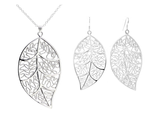 Sterling silver leaf necklace and earrings MAIN