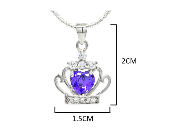 Crown purple heart necklace MEASUREMENT