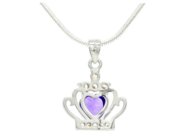 Crown purple heart necklace BACK