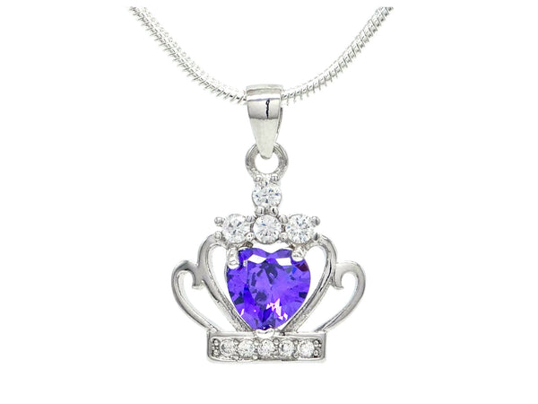 Crown purple heart necklace