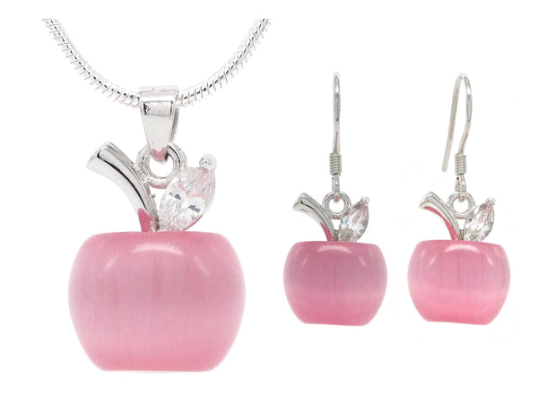 Pink moonstone apple necklace and earrings MAIN