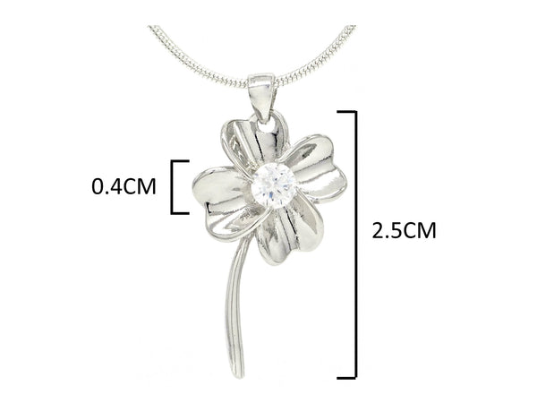 Silver flower white gem necklace MEASUREMENT
