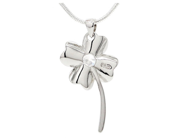 Silver flower white gem necklace BACK