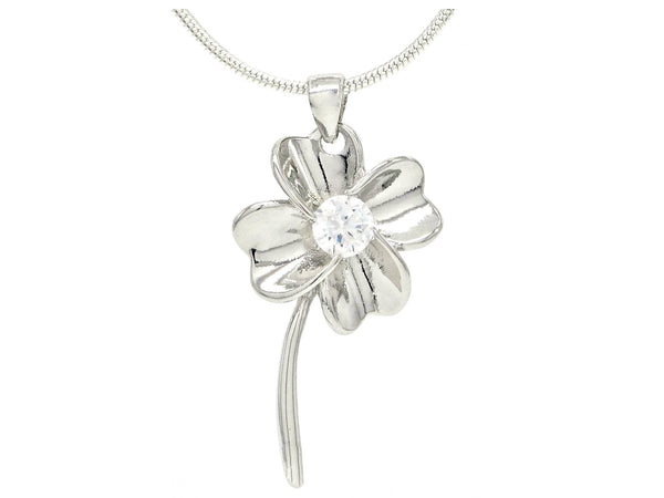 Silver flower white gem necklace