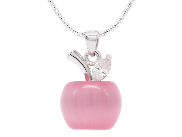Pink moonstone apple necklace
