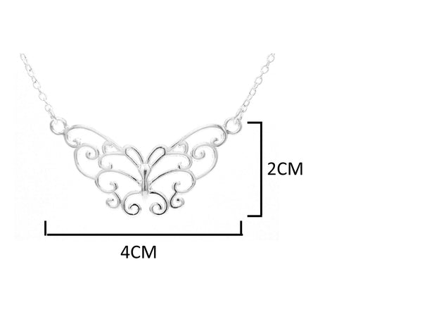 Silver butterfly choker necklace MEASUREMENT