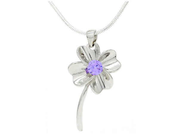 Silver flower purple gem necklace