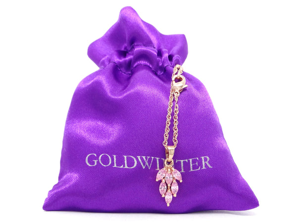 Rose gold pink leaf necklace and earrings GIFT BAG
