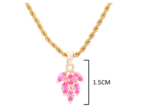 Pink leaf gold necklace MEASUREMENT