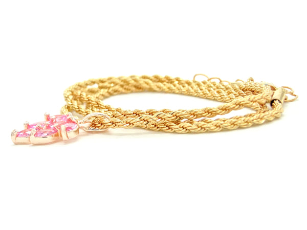 Pink leaf gold necklace FRONT