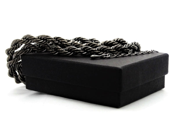 Black steel rope necklace GIFT BOX