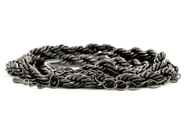 Black steel rope necklace FRONT