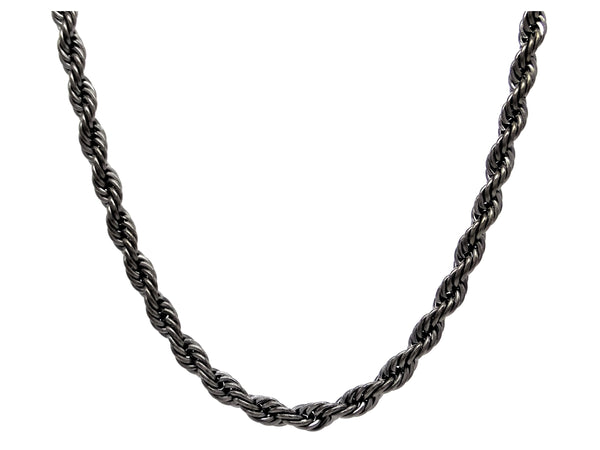Black steel rope necklace MAIN