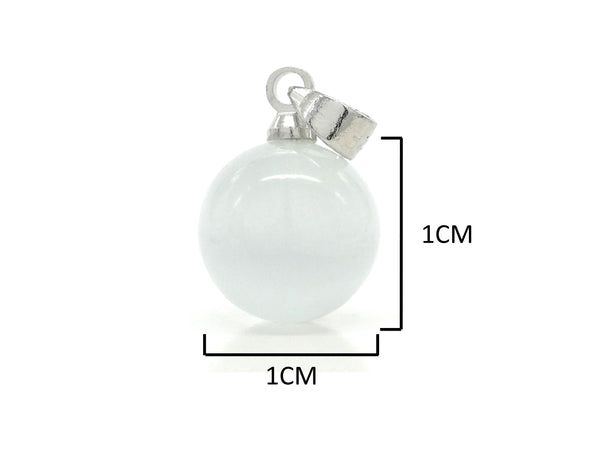 White moonstone ball silver necklace MEASUREMENT
