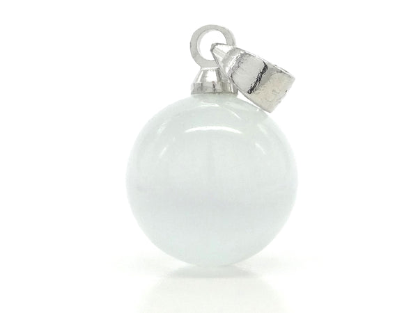 White moonstone ball silver necklace PENDANT