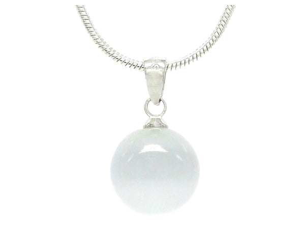 White moonstone ball silver necklace