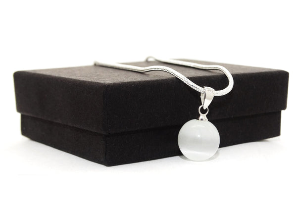 White moonstone ball silver necklace GIFT BOX