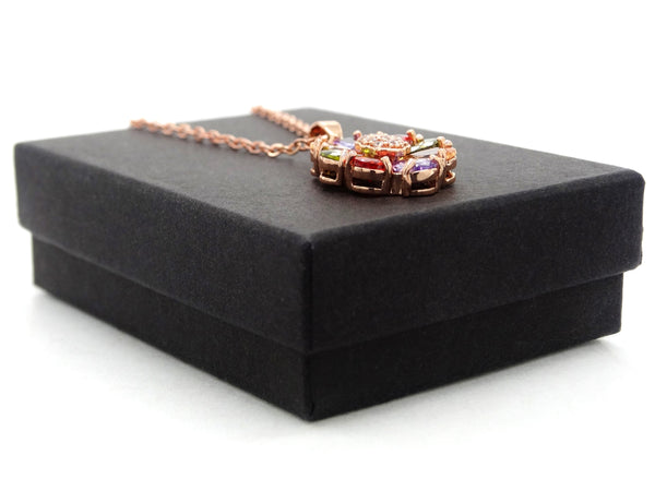 Rose gold pear gems necklace GIFT BOX