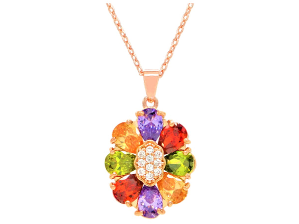 Rose gold pear gems necklace MAIN