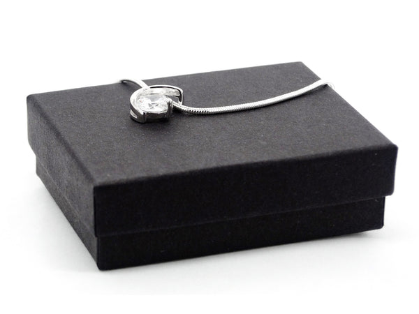 Sterling silver clear gem necklace GIFT BOX