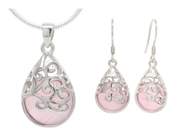 Decorated pink moonstone necklace and earrings MAIN