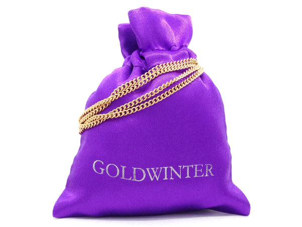 Pink raindrop yellow gold necklace GIFT BAG