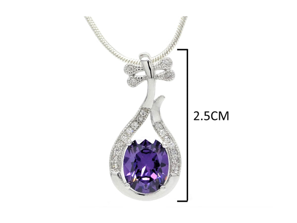 Purple oval gem silver necklace MEASUREMENT