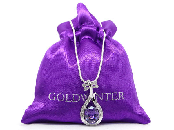 Purple oval gem silver necklace GIFT BAG
